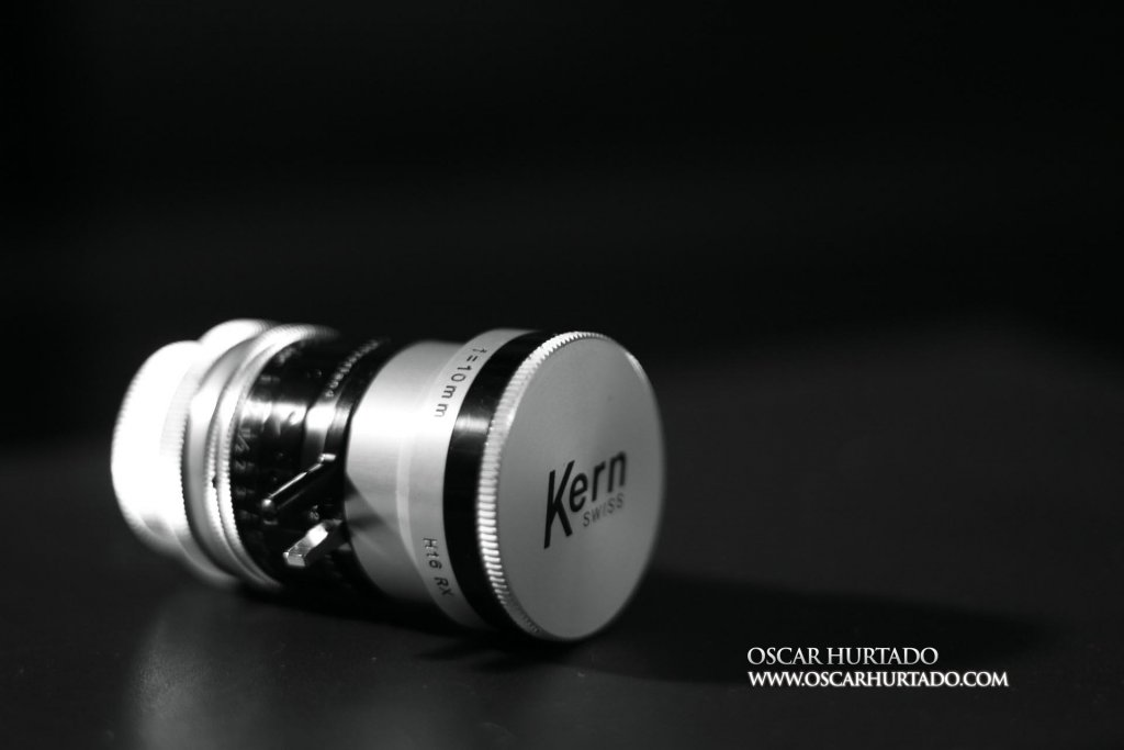 Kern Switar 10mm f1.6 preset C-mount lens from the side