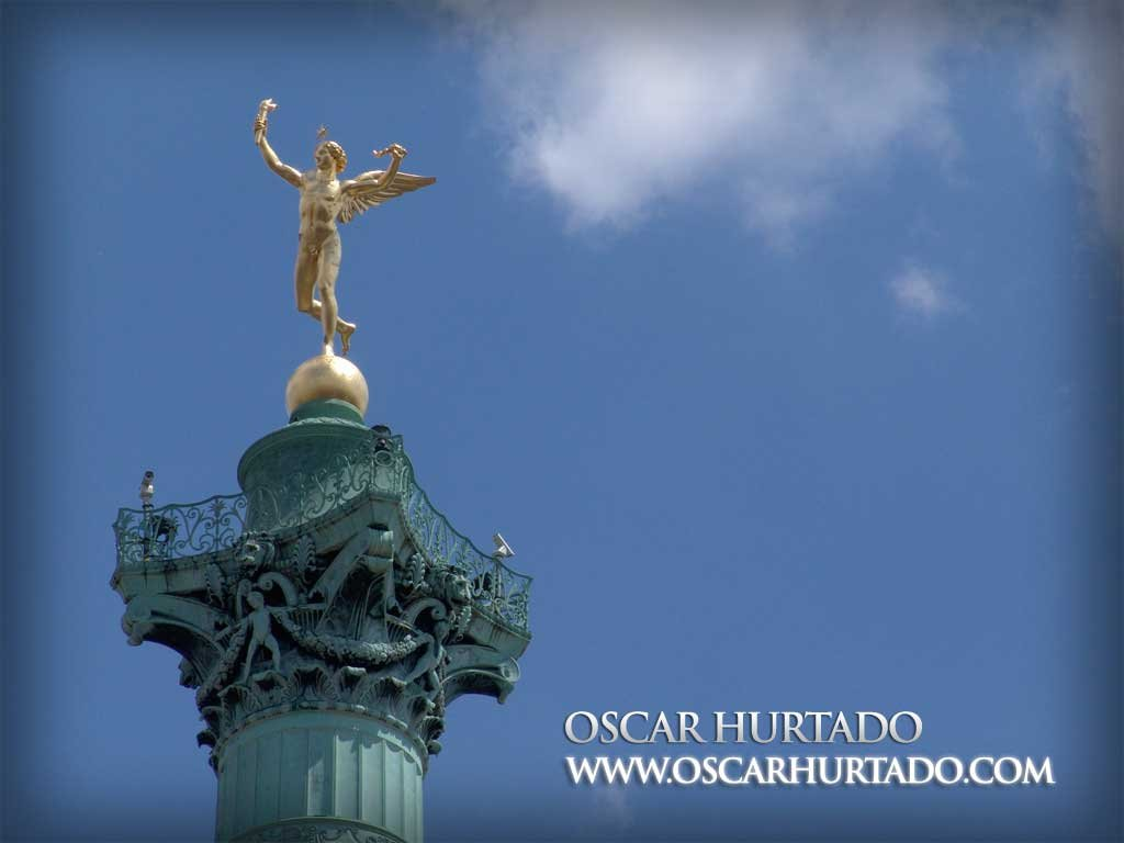 The gilded figure of Génie de la Liberté or Spirit of Freedom as found on the July Column in Place de la Bastille as commemorative monument of the 1830 Revolution in France