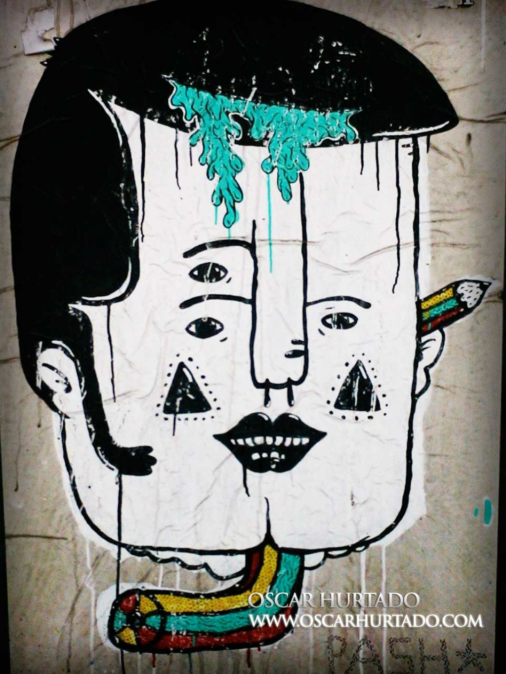 Colorful graffiti sticker portraying the face of a man with different surreal features such as three eyes and a bending tricolor pencil as neck