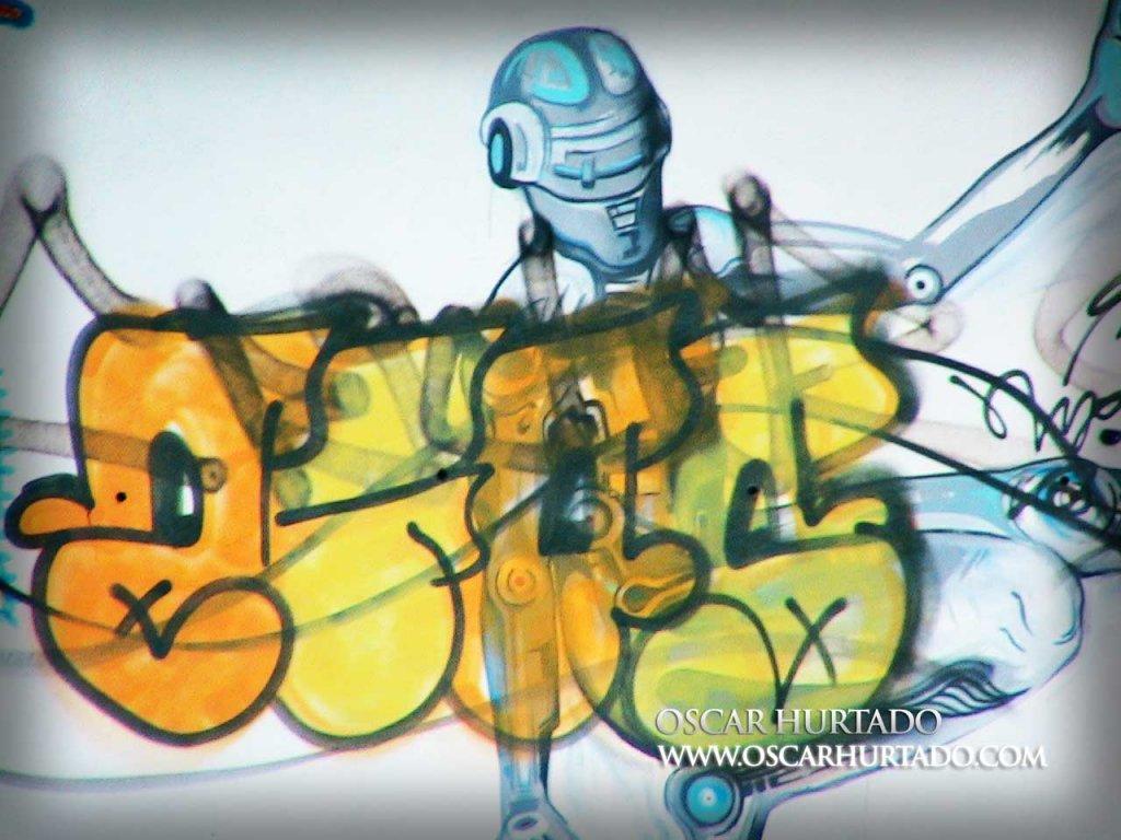 Graffiti found portraying a humanoid robot or a type of automaton