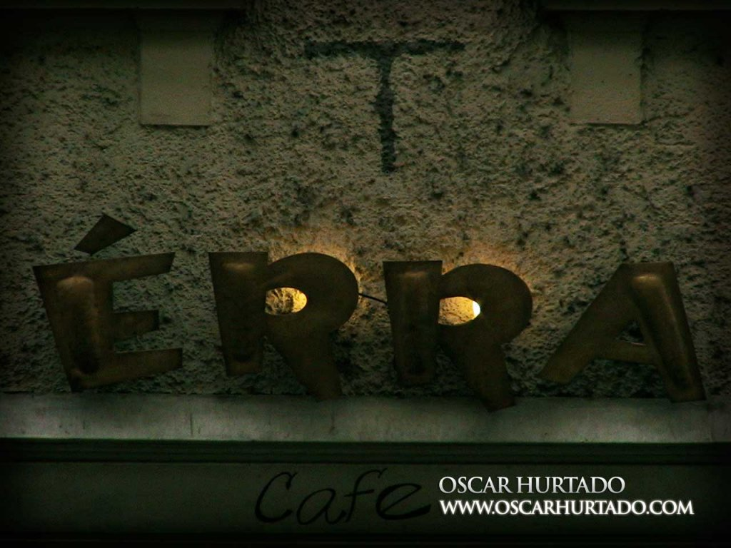 The iconic sign of the Érra Cafe in Prague