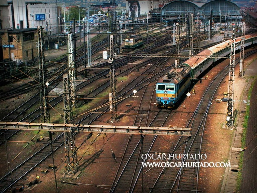 The train tracks found leading to the Main Train Station or Hlavní nádraží