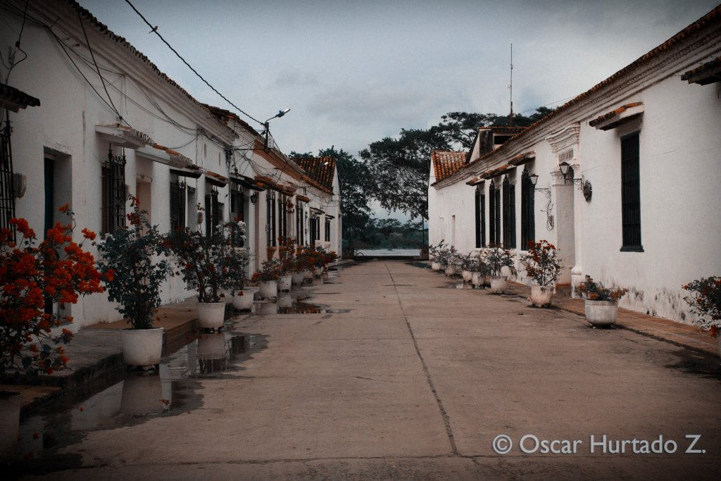 A beautiful colonial street decorated with flowers and leading to a framed view of the Magdalena river
