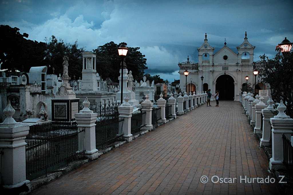 Beautiful view of the graves alongside the main path crossing the historical Mompox cemetery