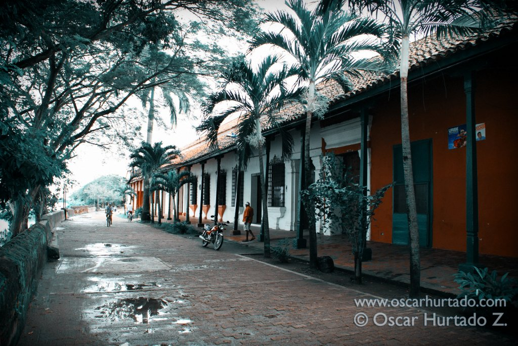 A typical colonial street by the shores of the Magdalena river in the town on Mompox
