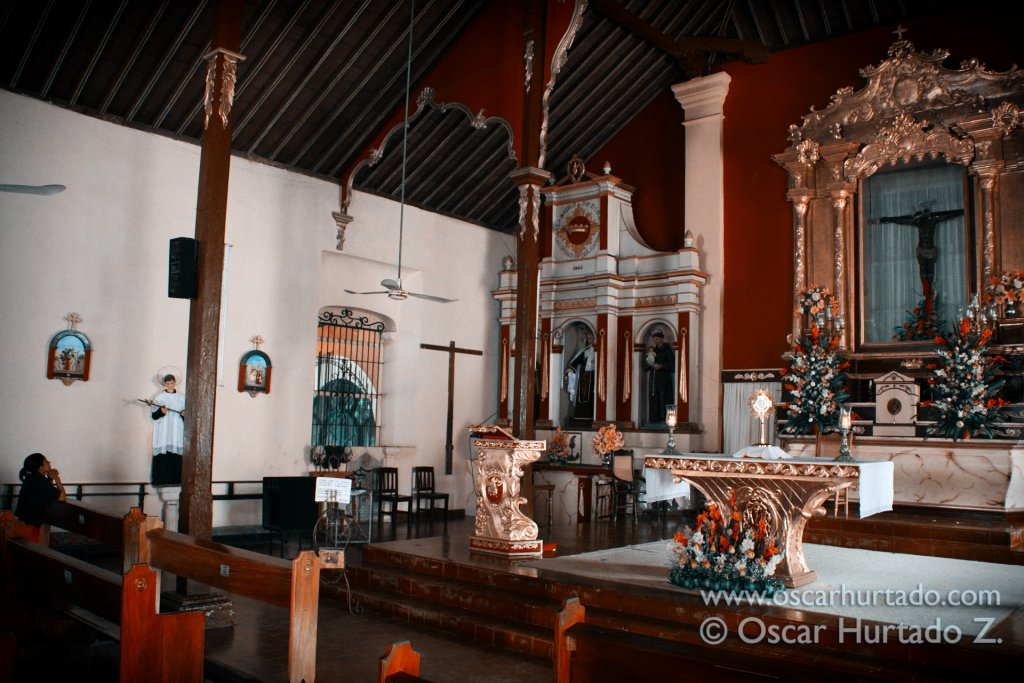 The interior and shrine of the Minor Basilica of San Agustín in Mompox