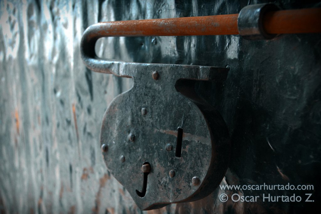 Close up of an antique colonial door lock found at the entrance of an old home