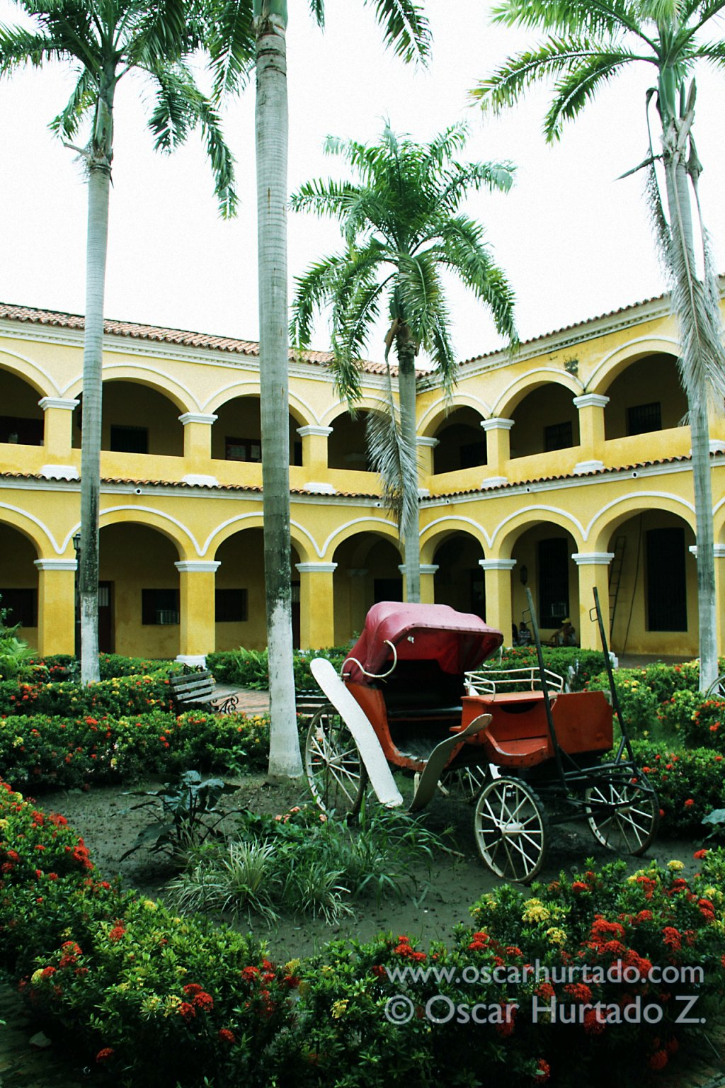 The interior garden of the historical San Carlos convent that now serves as the Town Hall of Mompox, Bolivar