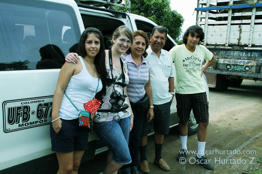 The family gathering outside our van ride while waiting to catch the ferry to cross the Magdalena river